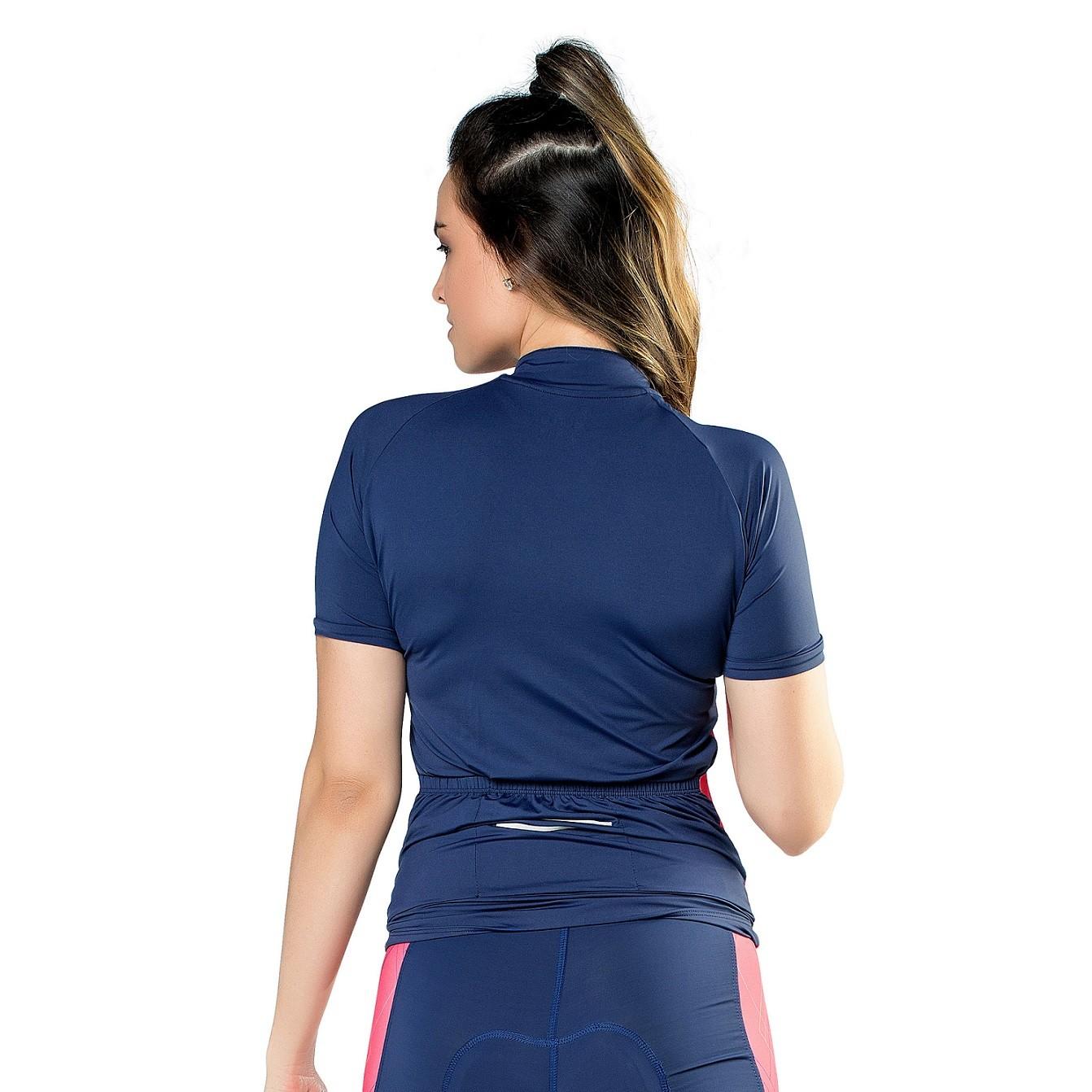 Camisa Performance Ciclismo Elite Feminina Marinho/Pink