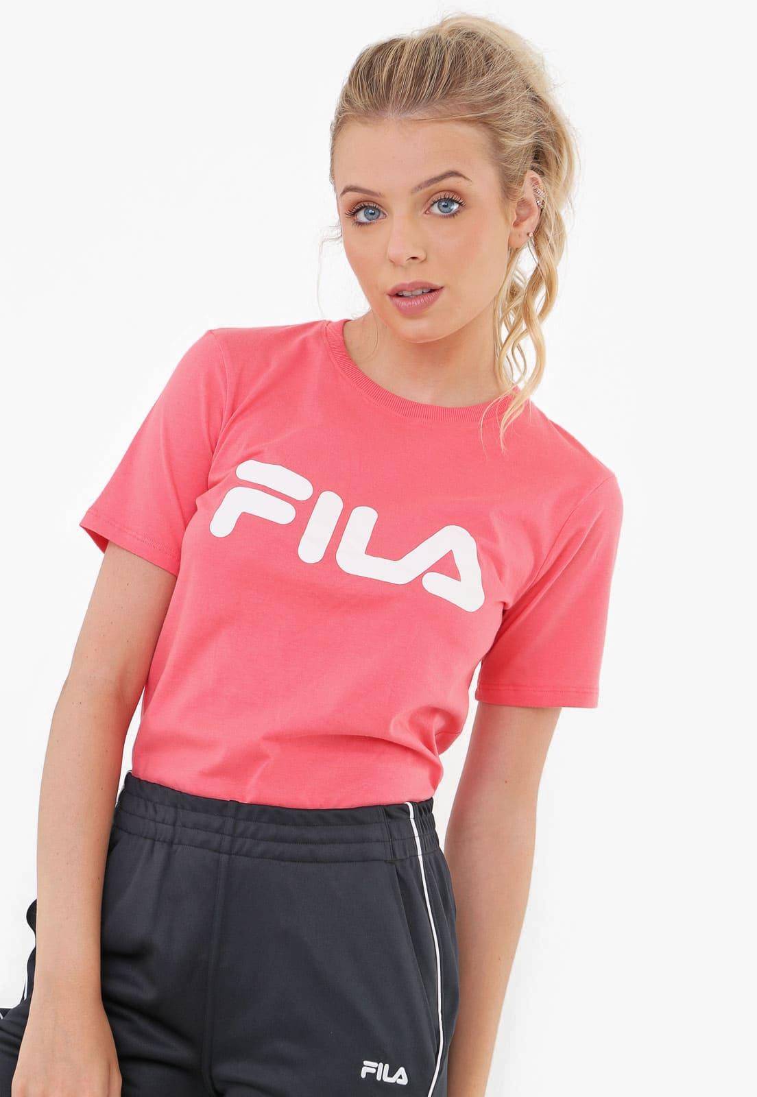 Camiseta Feminina Basic Letter Fila Rosa