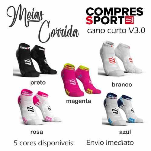 Meia de Compressao Unissex Para Corrida V3.0 Cano Curto Compressport