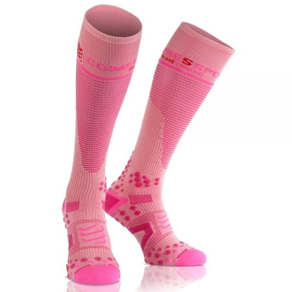 Meia Full Socks Unissex V2.1 Cano Longo Compressport Rosa