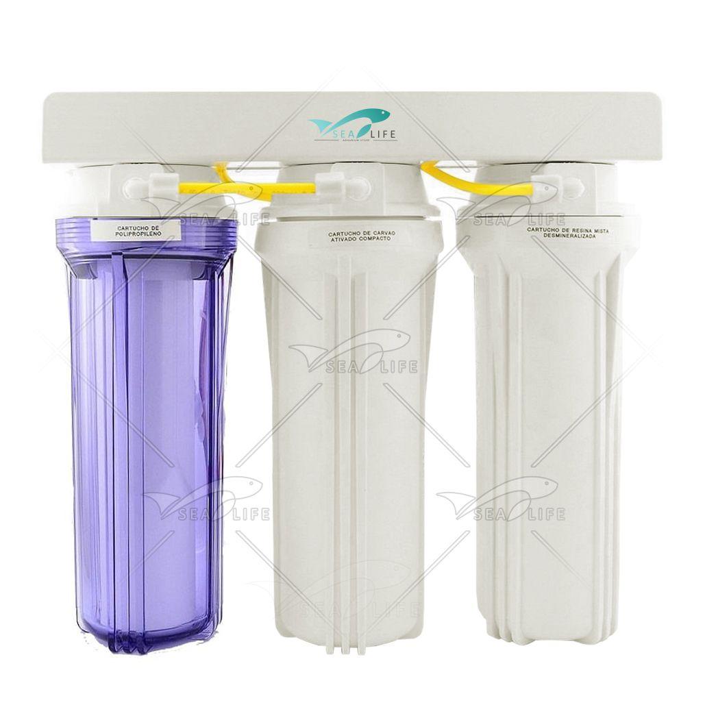 Filtro Desmineralizador de Água 3 Fases 1TR+2BR - Montado
