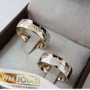 Aliança casamento em ouro amarelo e branco 18k 750  Peso 12 Largura 6mm - WM10125