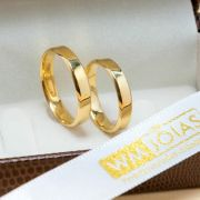Aliança chanfrada em ouro amarelo 18k  4mm e 7G  WM10217