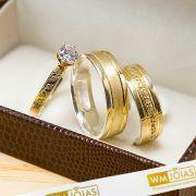 Aliança com anel solitário modelo trabalhado em ouro e prata WM10211