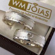 Aliança com coração em prata 950   Peso 10 gramas Largura 5mm - WM10052