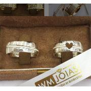 Aliança com coração em prata 950   Peso 16 gramas Largura 8mm - WM10100