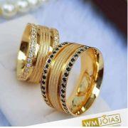 Aliança de  casamento ouro amarelo 18k 750  Peso 23 gramas o par Largura 9mm- WM10039