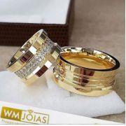 Aliança de  casamento ouro amarelo 18k  Peso 23 gramas o par Largura 9mm- WM10029