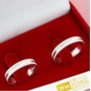 Aliança de compromisso em prata 950   Peso 6 gramas Largura 4mm - WM10091
