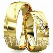 Aliança de luxo para casamento e noivado 13 a 15G 7mm WM3089