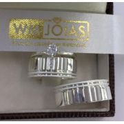 Aliança de namoro e anel solitario   12 G Largura 6mm - WM10124
