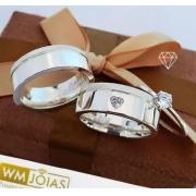 Aliança de namoro e anel solitario em prata  Peso 11G  Largura 6,5mm - WM10225