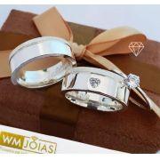 Aliança de namoro e anel solitario em prata  Peso 14G  Largura 7mm - WM10143