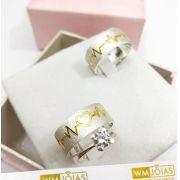 Aliança de namoro e anel solitario  Peso 12 gramas Largura 7mm - WM10038