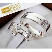 Aliança de namoro em prata 950   Peso 10G e 6mm - WM10202