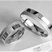Aliança de namoro em prata 950   Peso 14 gramas Largura 7mm - WM10103