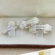 Aliança de namoro em prata com anel WM10262