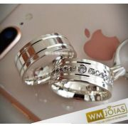 Aliança de Namoro Prata 8mm 16G WM10186