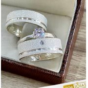 Aliança de namoro prata 950 + Anel Solitário WM10244