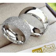 Aliança de namoro prata grossa  Peso 25 gramas Largura 10mm - WM10024