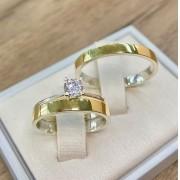 Aliança de noivado e casamento ouro 18k e prata WM10294
