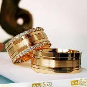 Aliança de noivado ouro amarelo 18k  Peso 15 gramas  Largura 7mm- WM10094
