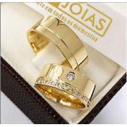 Aliança de ouro casamento  Peso 14 gramas o par Largura 7mm- WM10006