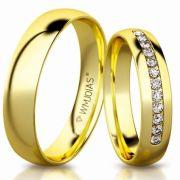 Aliança de ouro Celeste WM3188