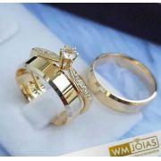 Aliança de ouro Chanfrada Lisa 4mm + Anel Solitário  WM10185