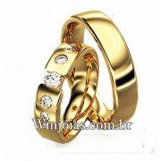 Aliança de ouro modelo de luxo 5.5 mm de largura e peso entre 18 a 20 G WM3108
