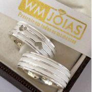 Aliança de prata com coração Peso 12 gramas Largura 7mm - WM10051