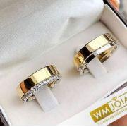 Aliança em ouro amarelo e branco  Peso 12 Largura 5mm - WM10017