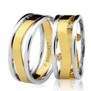 Aliança em ouro branco e amarelo WM3226