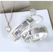 Aliança namoro mais anel solitario com zircônia  Peso 8G  Largura 5mm - WM10144
