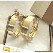 Aliança noivado com anel solitário  Peso 10 gramas  Largura 6 mm- WM10154