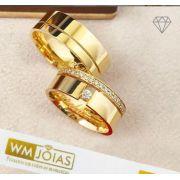 Aliança noivado e casamento ouro 18k 750  16G 8mm  - WM10140
