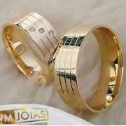 Aliança noivado ouro 18k  Peso 12 gramas o par Largura 6mm- WM10008