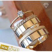 Aliança ouro 18k com anel solitário  Peso 12 gramas o par Largura 6,5 mm- WM10112