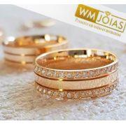 Aliança Ouro 18k  Personalizada  Peso 13 gramas o par Largura 6,5mm- WM10064