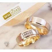 Aliança  ouro amarelo e branco 18k  Peso 12 gramas o par Largura 6mm- WM10114