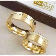 Aliança  para casamento ouro amarelo 18k  Peso 15 gramas o par Largura 7mm- WM10043