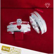 Aliança prata coração e anel solitario com zircônia  Peso 10G  Largura 6mm - WM10156
