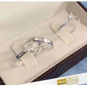 Aliança prata quina quebrada  2mm e anel solitário   WM10223