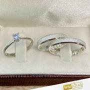 Aliança prata quina quebrada  3,5mm e anel solitário   WM10270