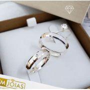 Aliança prata quina quebrada e anel solitário  8G  4mm- WM10135