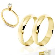 Aliança tradicional em ouro com 6 mm com anel  WM10281