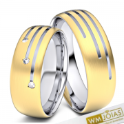 Alianças Assunçao  ouro 18k e prata 6mm  WM10335