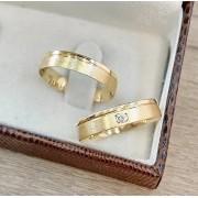 Alianças Casamento Baratas Ouro 18k 750 com Diamante 4mm - WM9307