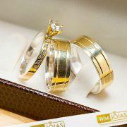 Alianças casamento com anel solitario metais nobres ouro e prata - WM10203