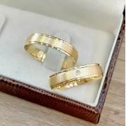 Alianças Casamento Ouro Amarelo Acabamento Liso e Fosco 4,4mm - WM9315